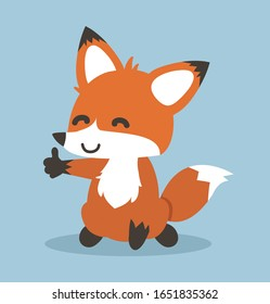 Red fox cartoon giving thumb up