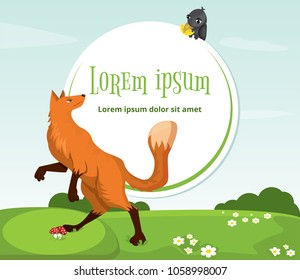 Red fox and crow with cheese. Funny characters. Vector illustration