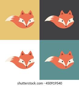 Red fox icon, vector illustration.
