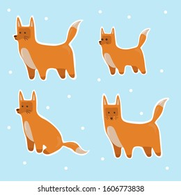 Red fox illustrations set. Cute and funny fox in different poses: sitting, standing. Baby fox. Isolated on blue background. Stickers with animals fox