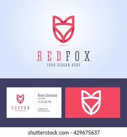 Red fox logo and business card template. Line style with overlapping effect. Vector illustration in flat style.