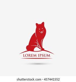 Red fox symbol - vector illustration