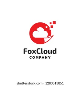 red fox tail with digital cloud internet web logo icon vector template