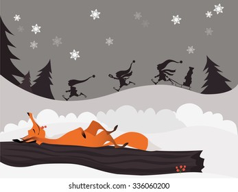 Red fox in the winter christmas forest and cute elves (postcard)
