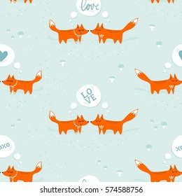 red foxes male female in love animals cartoon style seasonal winter romantic love seamless pattern on pastel mint background