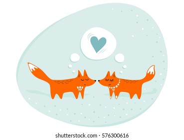 red foxes male female in love animals cartoon style seasonal romantic love valentine's day wedding engagement illustration on pastel mint background