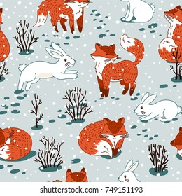 Red foxes and white hare in the woodland. Vector seamless pattern with wild forest animal. Winter xmas illustration.
