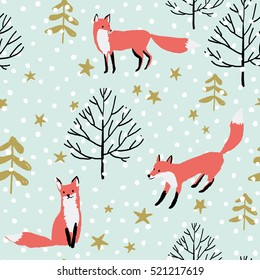 Red foxes in the woodland, stars, snow on the mint background. Vector seamless pattern with wild forest animal. Winter xmas illustration.