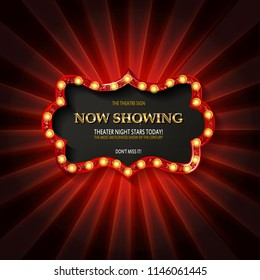 Red frame with light bulbs on the background of the. Vector illustration