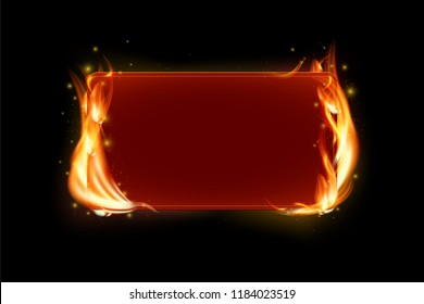 Red frame with realistic fire flames and copy space for your text on black background - vector illustration