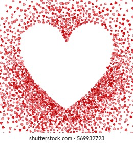 Red Frame Scatter Confetti Shape Heart Stock Vector Royalty Free