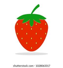 Red fresh strawberry fruit isolated on white. Flat icon Vector illustration.