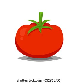 Red and fresh tomato vector icon isolated on white for food illustration or art in flat style