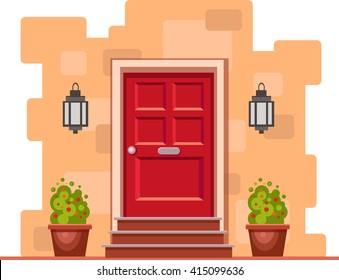 Red front door on the yellow brick wall with two pots with plants and lights. Vector building element. Cartoon house illustration