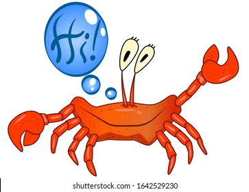 """Red funny crab salutes and says """"Hi!"""" Vector textured crab with big eyes and a wide smile. Cartoon crab for a children's book, welcome sticker, print, banner or element for a blog. Stock cartoon crab."""