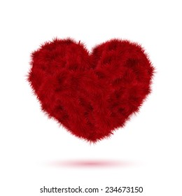 Red fur heart for Your Valentine design. Vector illustration.