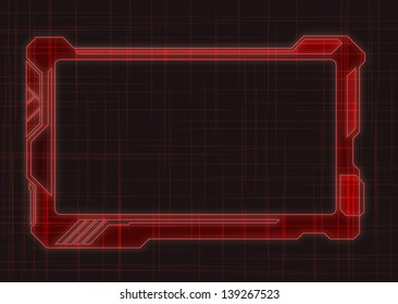 Red Futuristic Screen Tablet Device