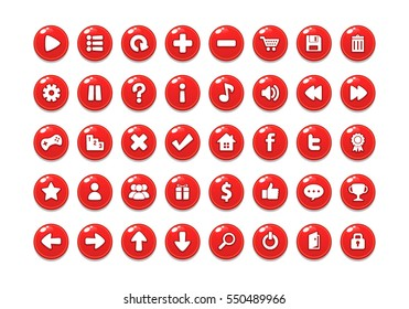 Red Game Button Templates. Pack of game button templates design.