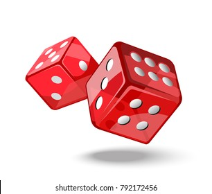 Red game dice in flight. Casino gambling. Vector