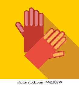 Red garden gloves icon in flat style on a yellow background