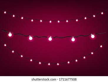 Red garlands on dark background. Vector clipart
