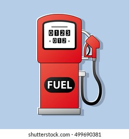 Red gas fuel pump icon.