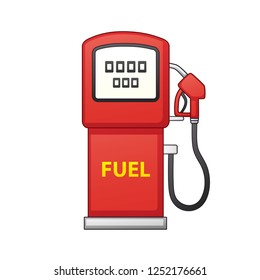 Red gas fuel pump isolated icon, petrol filling station.