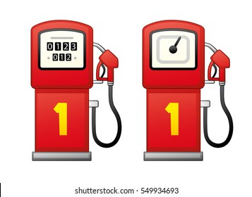 Red gas fuel pump isolated. Filling station icons.