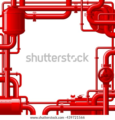 Red Gas Pipes Industrial Frame Background Stock Vector (Royalty Free ...