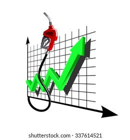 Red gasoline pump nozzle with line chart green arrow. Indicates increasing dynamics of fuel prices, for gas and oil industry themes design