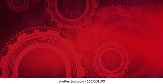 Red Gears wheel and Cock on Technology Background,vector