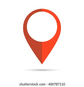 Red geo pin as logo with copy space on white. Geolocation and navigation. Icon for mobile and electronic devices, web design, infographic elements, presentation templates.