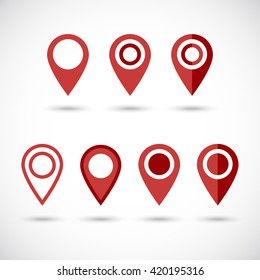 Red geo pins. Geolocation red signs set. Geolocate and navigation sign.
