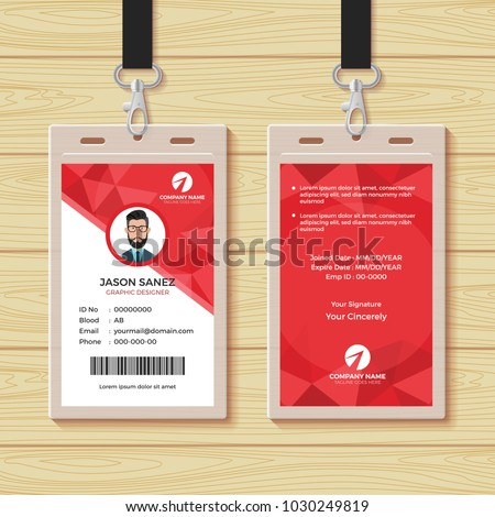 red geometric employee id card design のベクター画像素材