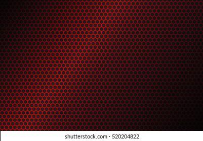 Red geometric polygons background, hexagon symbol, abstract black metallic wallpaper, vector illustration