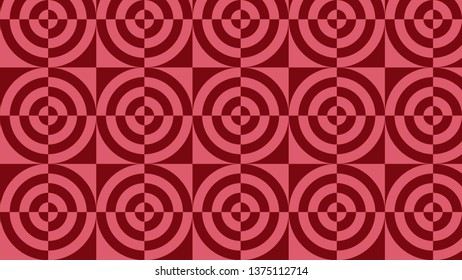Red Geometric Quarter Circles Pattern