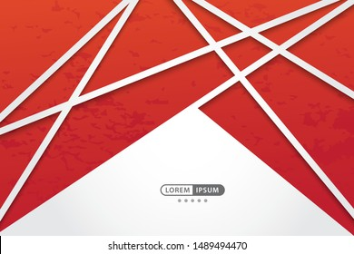 red geometric vector background with abstract line style, vector illustration