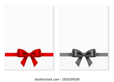 red gift bow and black bow with paper card isolated on white backgrond