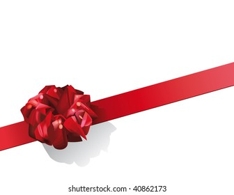 Red gift bow on diagonal.