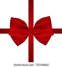 Red gift bow of ribbon