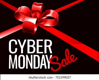 A red gift bow ribbon Cyber Monday Sale sign