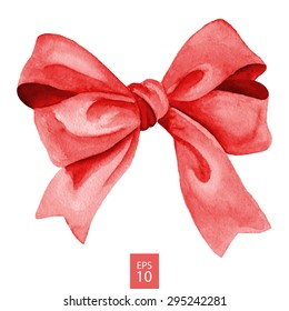 Red gift bow. Watercolor drawing. Vector illustration