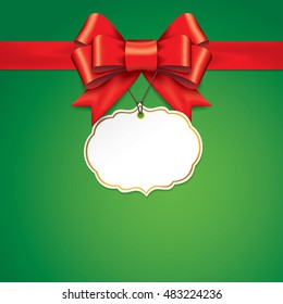 Red gift bows with ribbons On Green Background. Red Bow with card. Vector Illustration.