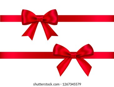 Red  gift  bows set  isolated on white background. Christmas, New Year, birthday  decoration. Vector realistic decor element  for banner, greeting card, poster.