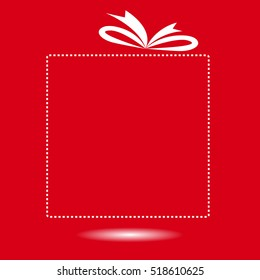 red gift box blank for your text, Boxing day design background.vector illustration.