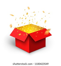 Red gift box confetti explosion. Magic open surprise gift box package decoration.