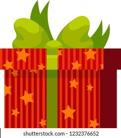 Red gift box with green ribbon, star pattern and green bowknot