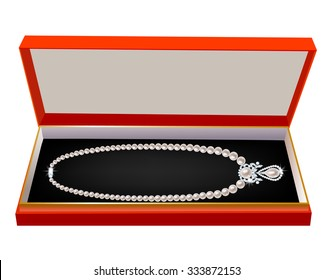 Red gift box with a pearl necklace on white