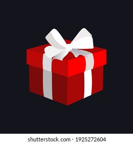 Red gift box with white ribbon and bow vector image