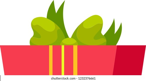 Red gift box with yellow ribbons and green bowknot